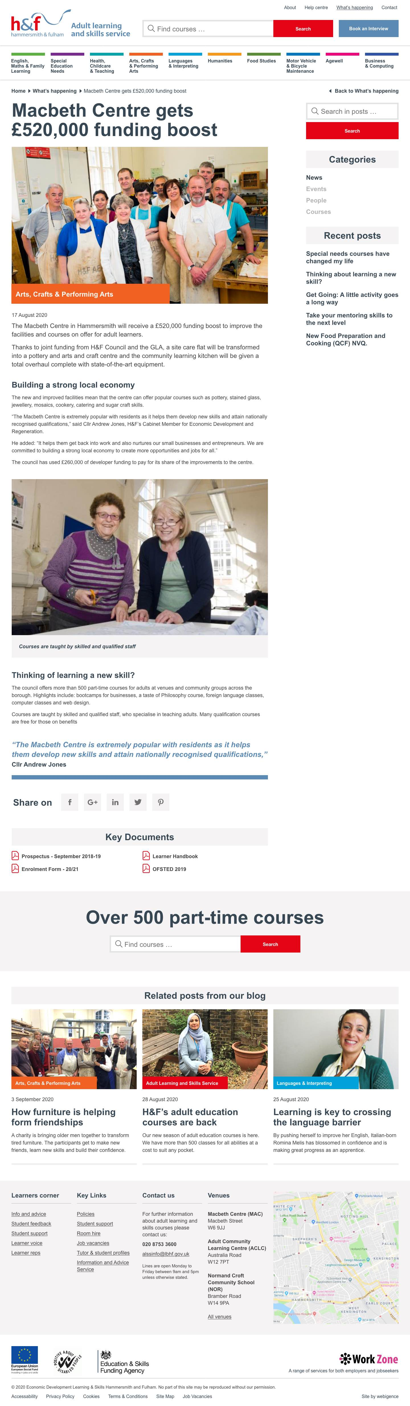 Hammersmith & Fulham Adult learning news post