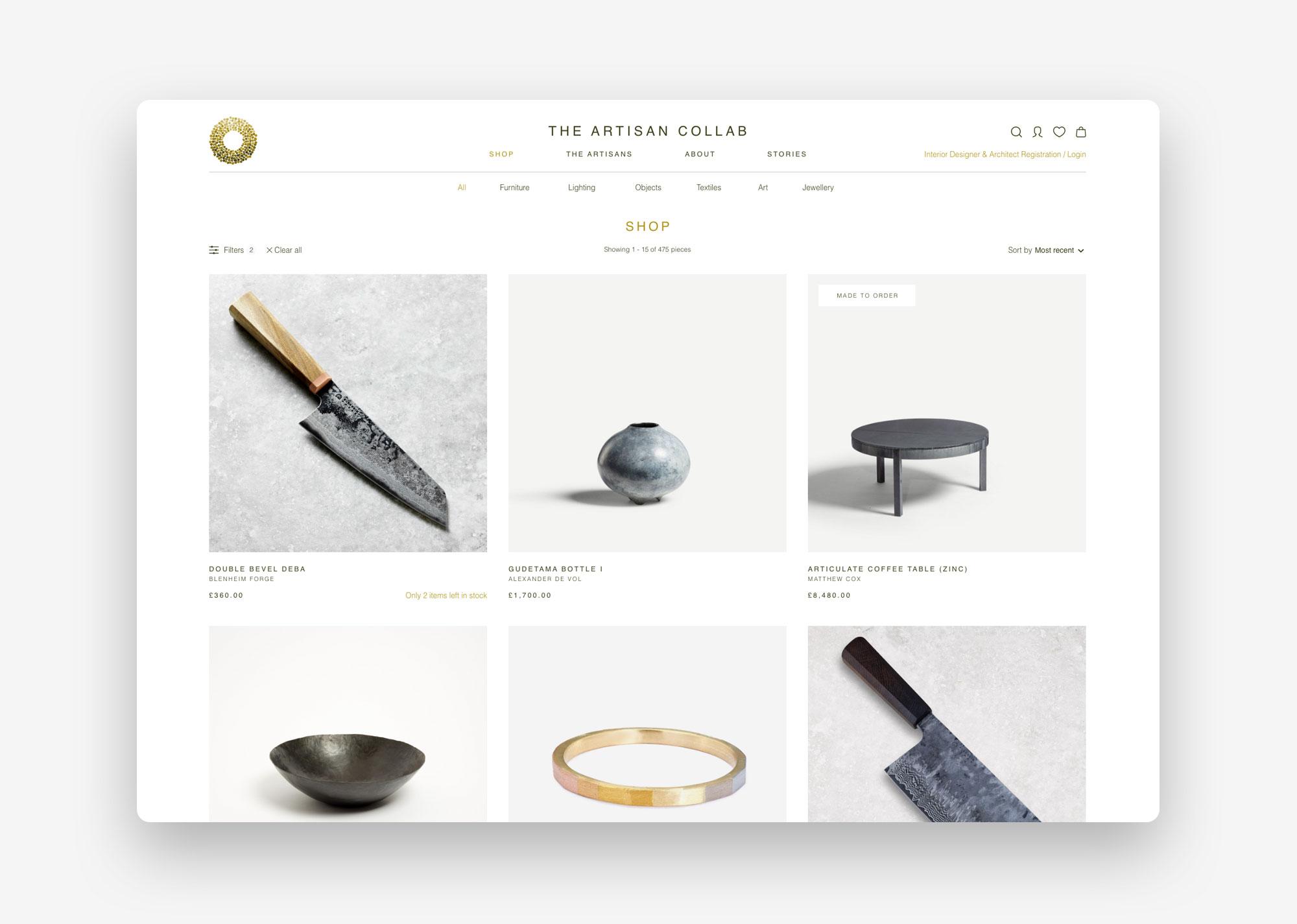 Artisan Collab UX shop page